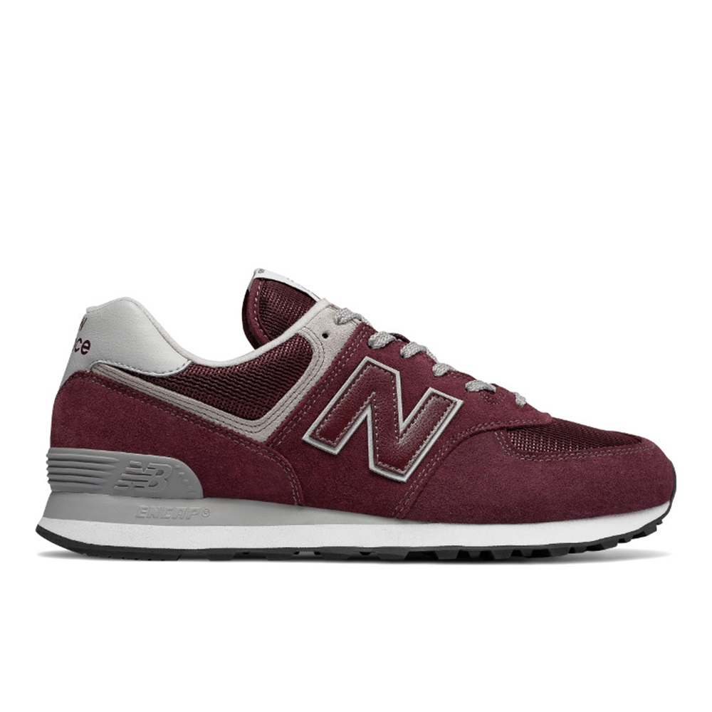 Zapatillas New Balance modelo ML574 EGB en color burdeos para hombre-d