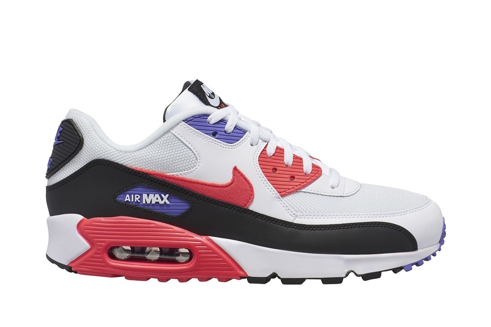 NIKE AIR MAX '90 ESSENTIAL SHOE WHITE/RED ORBIT-PSYCHIC PURPLE-BLACK