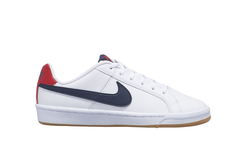 NIKE BOYS' NIKE COURT ROYALE (GS) SHOE WHITE/OBSIDIAN-UNIVERSITY RED