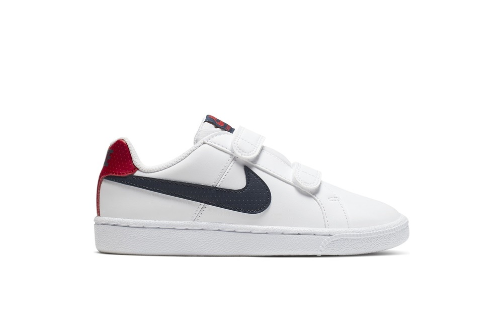 NIKE BOYS' NIKE COURT ROYALE (PS) PRE-SCHOOL SHOE WHITE/OBSIDIAN-UNIVERSITY RED