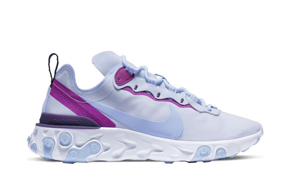 NIKE REACT ELEMENT 55 FOOTBALL GREY/PSYCHIC BLUE-HYPER VIOLET