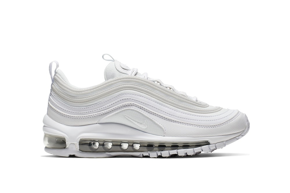 NIKE BOYS' NIKE AIR MAX 97 (GS) RUNNING SHOE WHITE/WHITE-METALLIC SILVER
