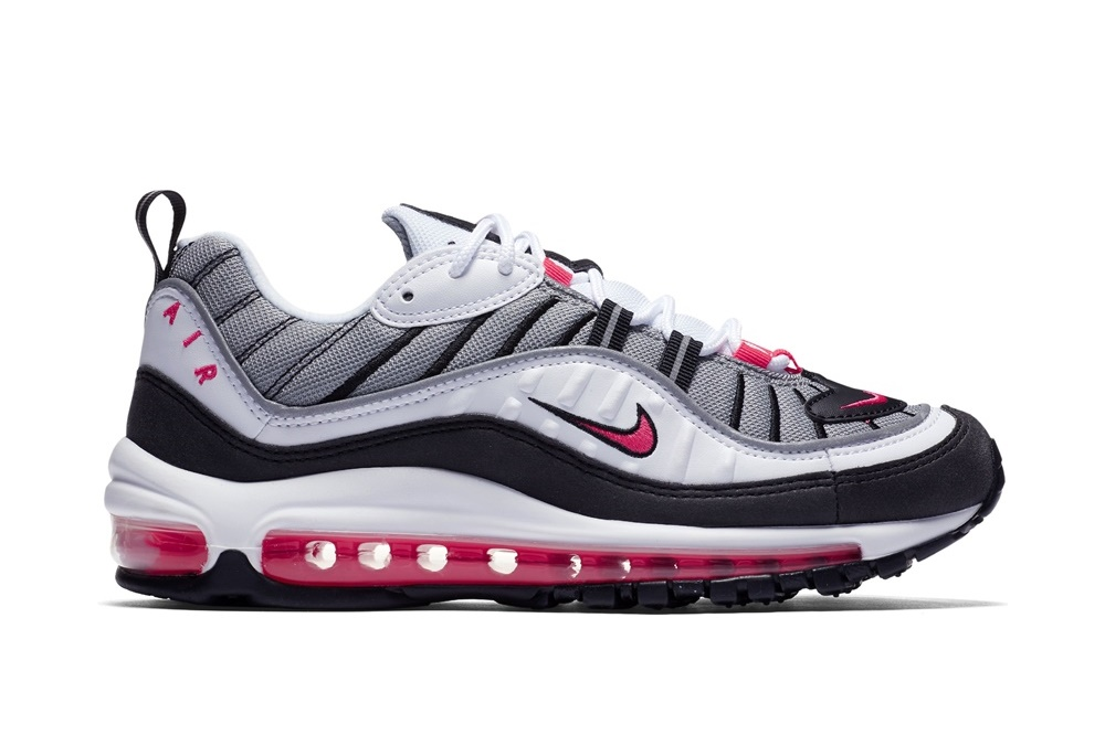 NIKE WOMEN'S NIKE AIR MAX 98 SHOE WHITE/SOLAR RED-DUST-REFLECT SILVER
