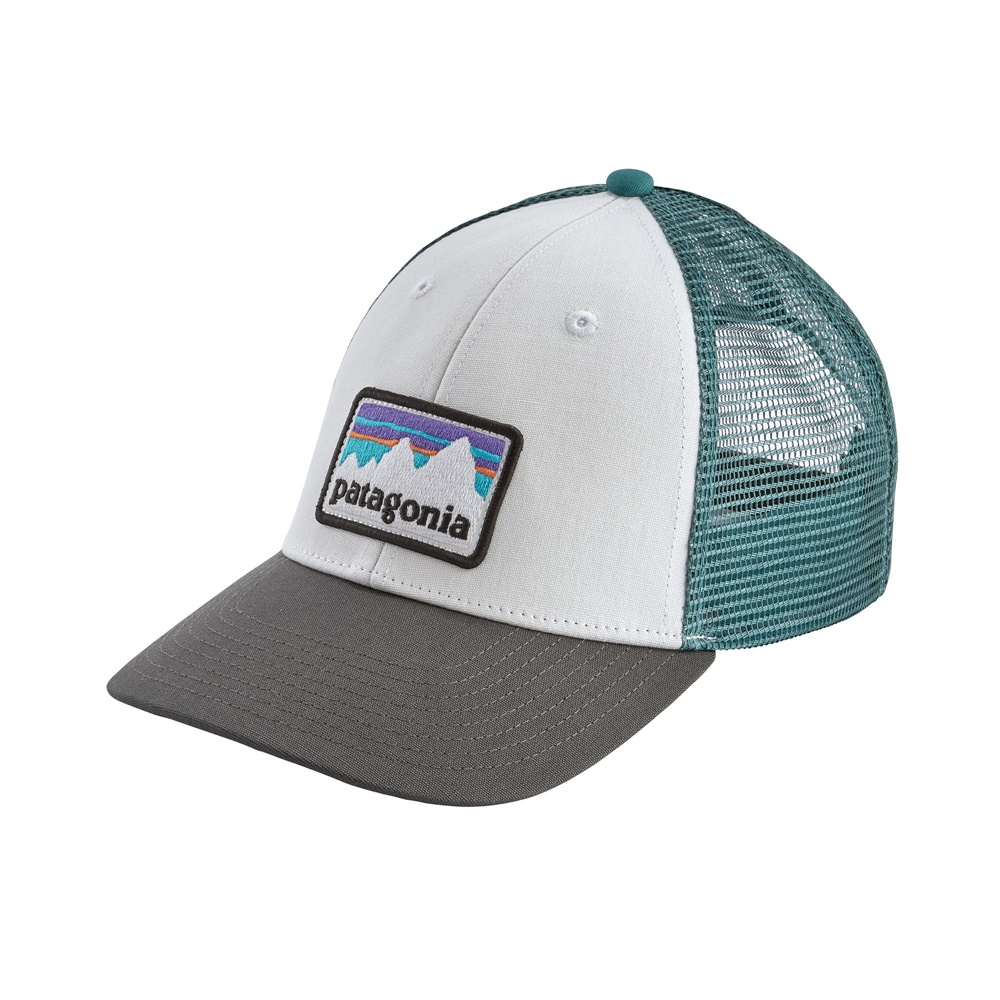 PATAGONIA SHOP STICKER PATCH LOPRO TRUCKER HAT WHITE W/FORGE GREY
