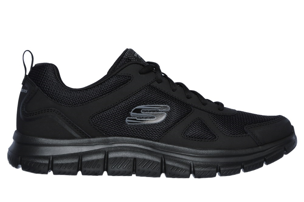 SKECHERS - TRACK- SCLORIC BLACK LEATHER/MESH/TRIM