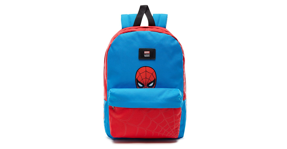Mochila Vans x Marvel modelo New Skool Backpack Spiderman en color azul-c
