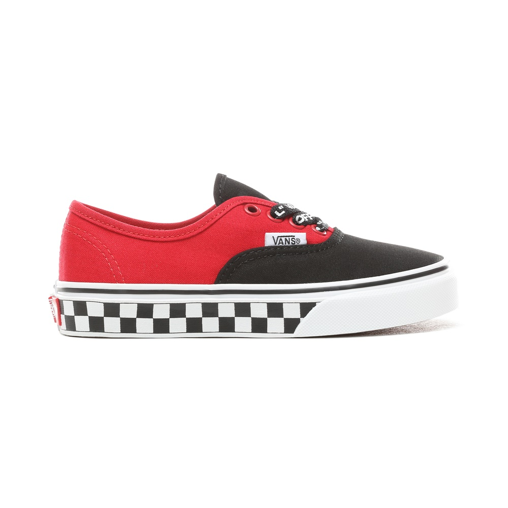 0b790fef4 Zapatillas VANS UY AUTHENTIC -LOGO POP- BL junior en color rojo y negro.
