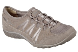 SKECHERS - BREATHE-EASYMONEYBAGS TAUPE SUEDE/ MESH/ NATURAL TRIM