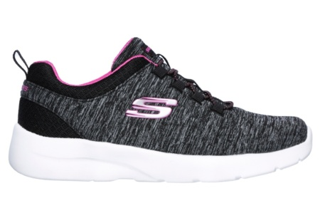 SKECHERS - DYNAMIGHT 2.0- IN A FLASH Black Mesh/ Hot Pink Trim