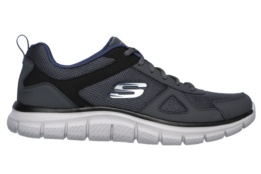 SKECHERS - TRACK- SCLORIC GRAY LEATHER/MESH/NAVY TRIM