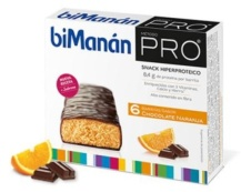 BIMANAN PRO BARRITAS CHOCO-NARANJA 6 UNIDADES