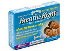 BREATHE RIGHT 10 TIRAS GRANDES TRANSPARENTES