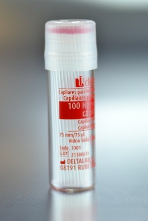 Capilar Micro-Hematocritos 75mm. CON Heparina