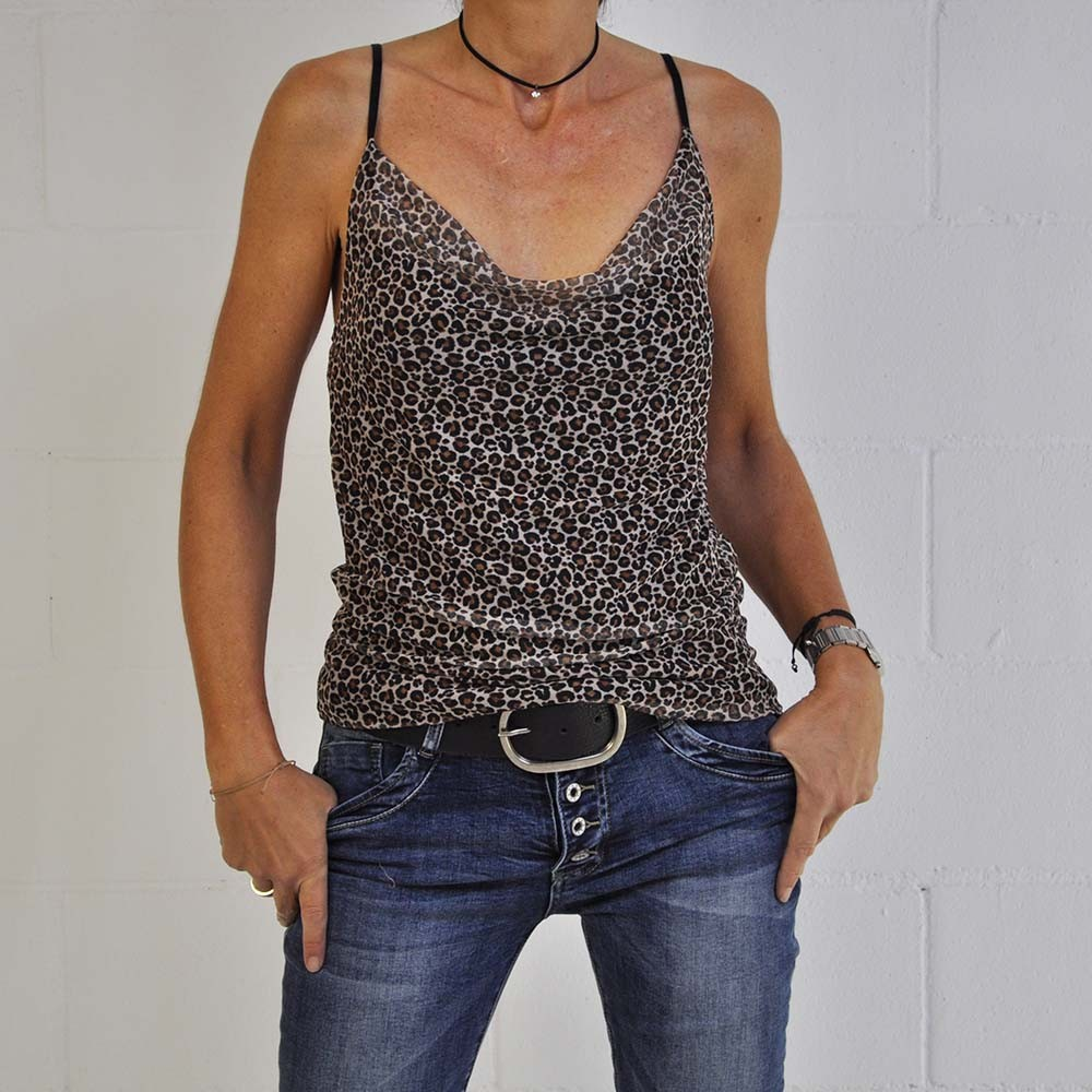 Top leopardo camel