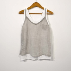 Top doble lino gris