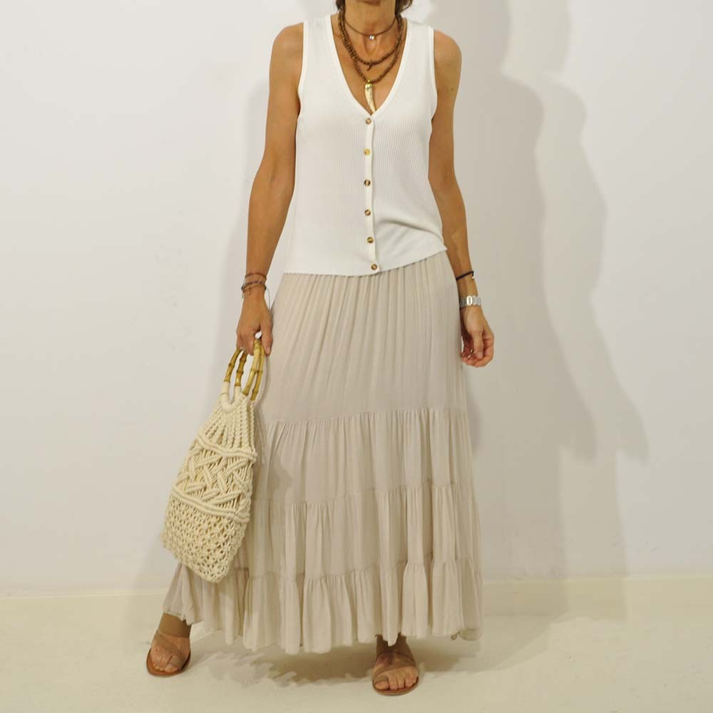 Falda larga brillo beige