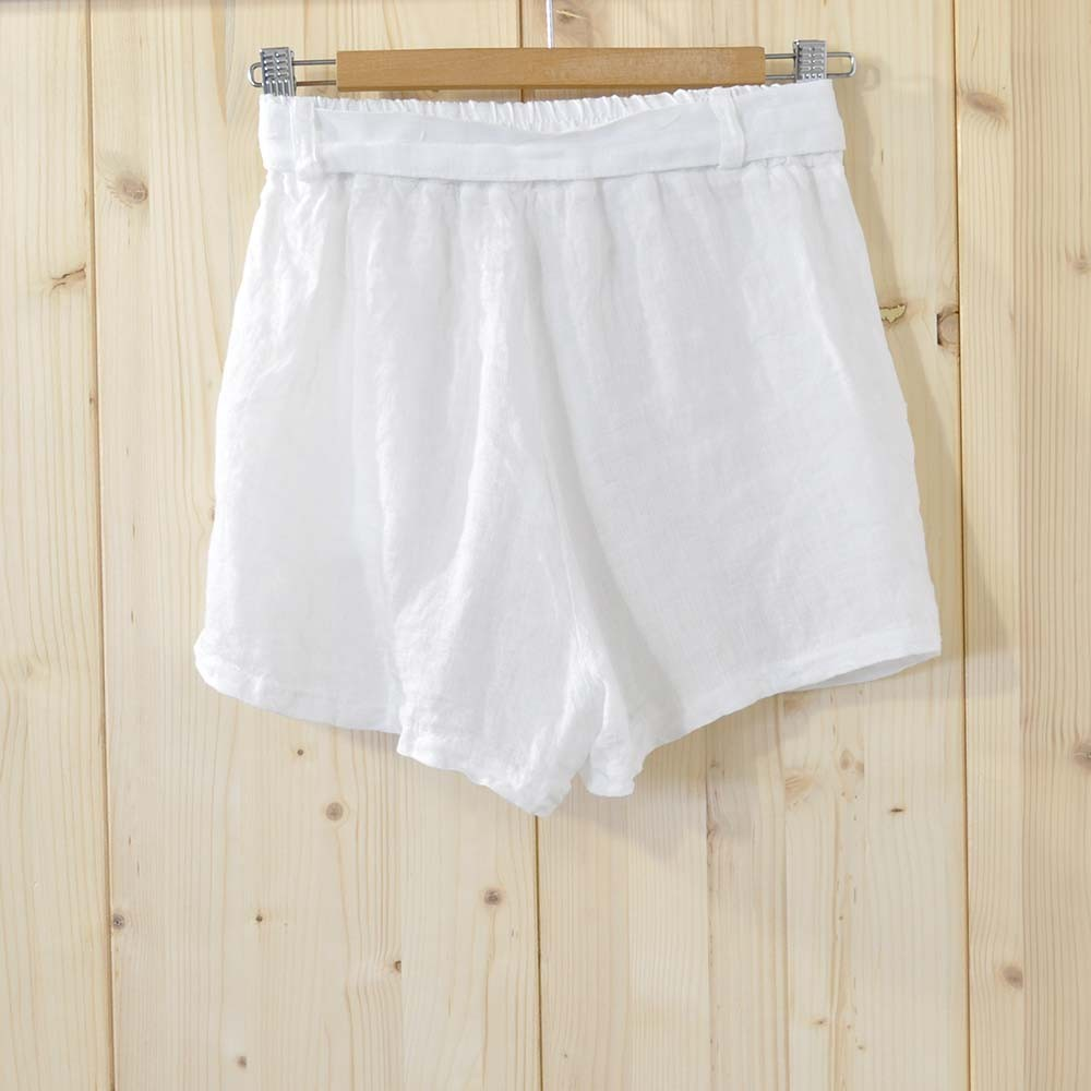 Short lino blanco