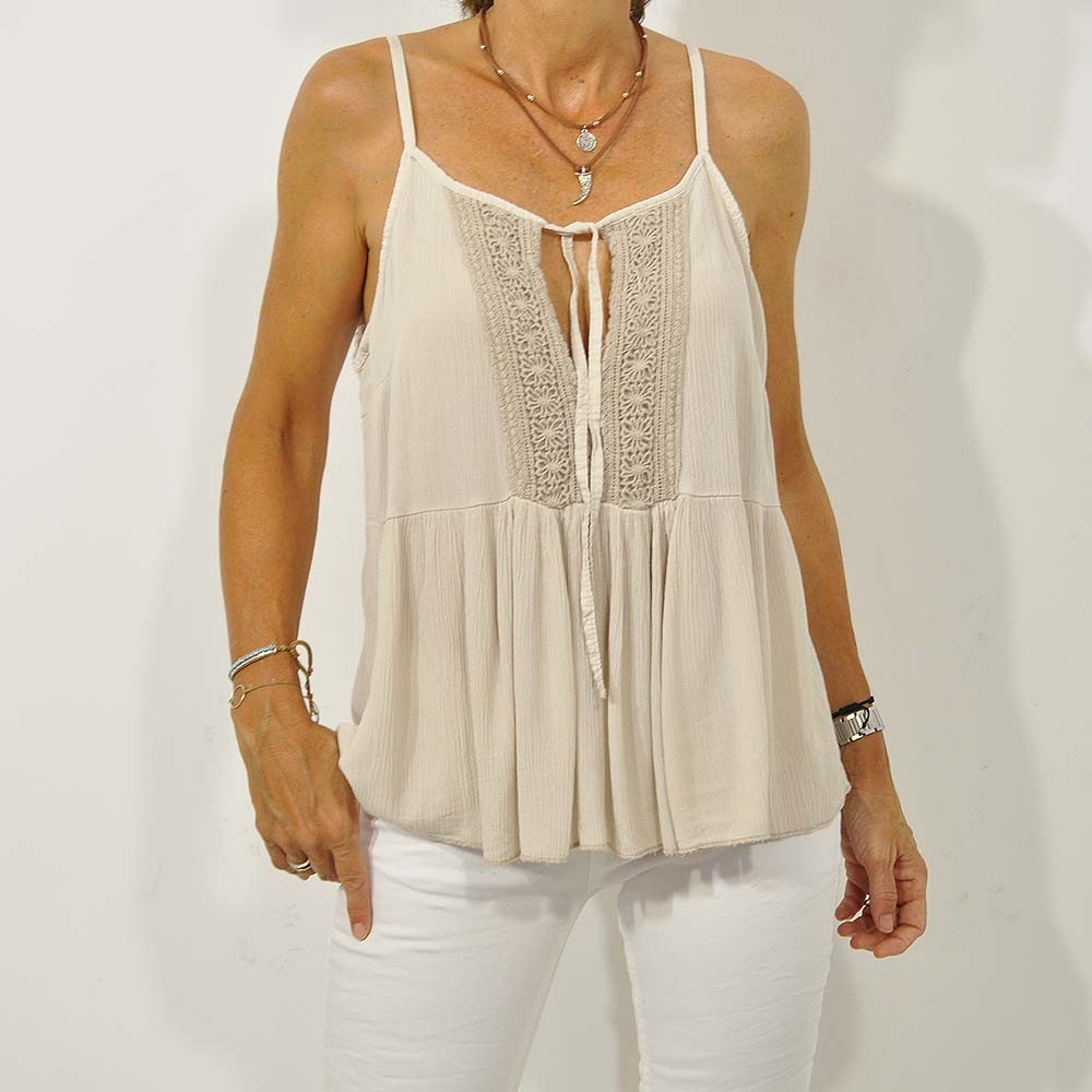 Top blonda beige
