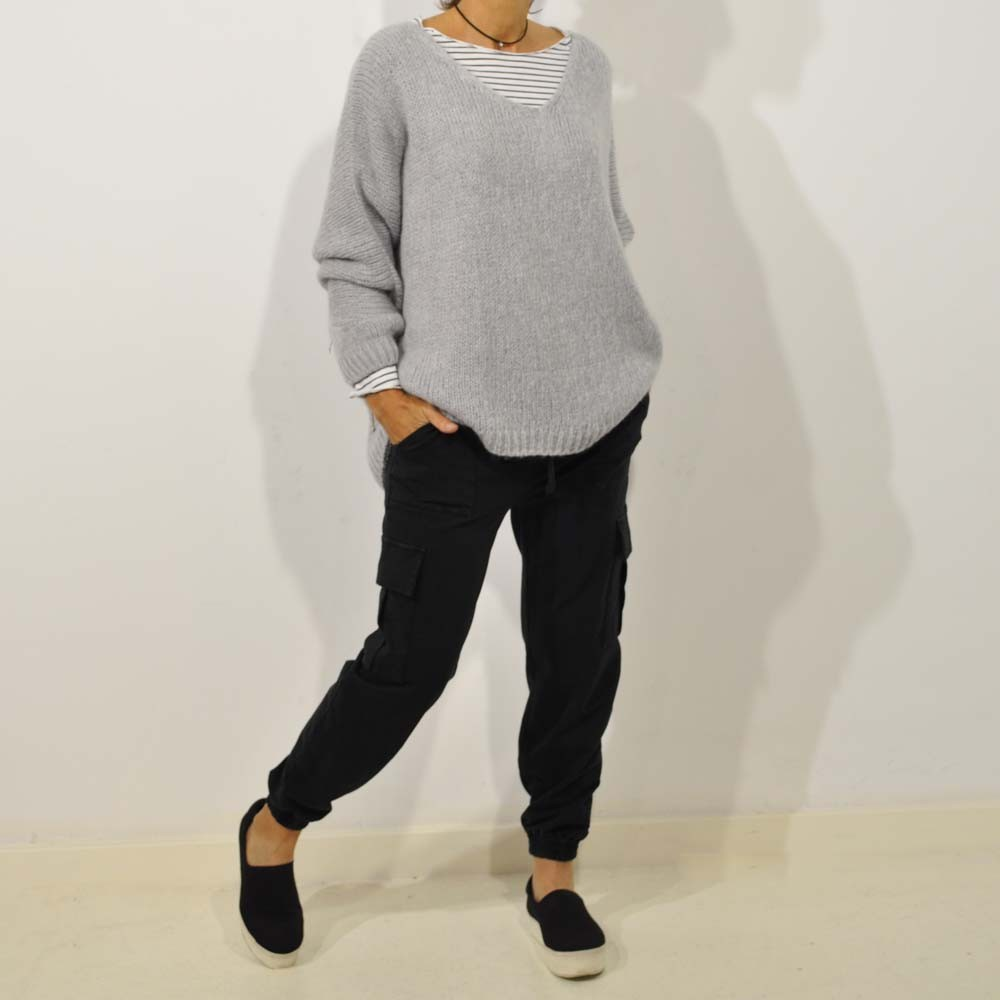 Jersey oversize pico gris