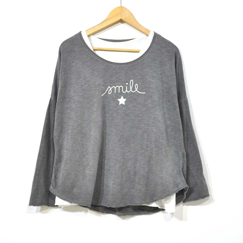 Camiseta doble smile gris