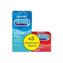 DUREX PACK PRESERVATIVOS NATURAL PLUS + 3 SENSITIVOS GRATIS