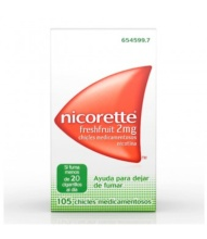 NICORETTE FRESHFRUIT 2MG 105 CHICLES MEDICAMENTOSOS NICOTINA