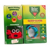 Relec Pulsera Anti Mosquitos + reloj digital Cangrejo