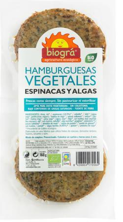 Hamburguesa con espinacas y algas Biográ 160g.