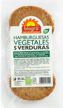 Hamburguesa 5 verduras Biográ 160g.