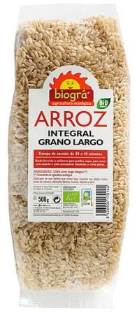 Arroz integral largo Biogra 500g.