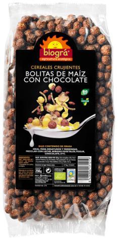Bolitas de maíz con chocolate 250g.