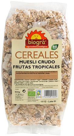 Muesli crudo - Frutas tropicales Biográ 500g.