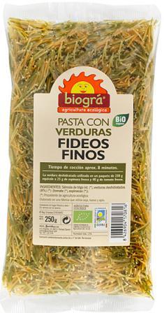 Fideos finos con verduras Biográ 250g.