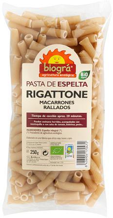Macarrones de espelta rigattone Biográ 250g.