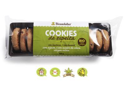 Cookies de espelta sin azúcar Bioandalus 150g.