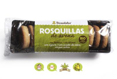 Rosquillas de avena sin azúcar Bioandalus 150g.