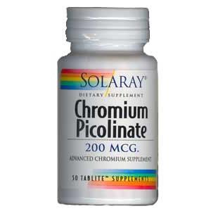 Picolinato de cromo Solaray 200mcg 50 comprimidos