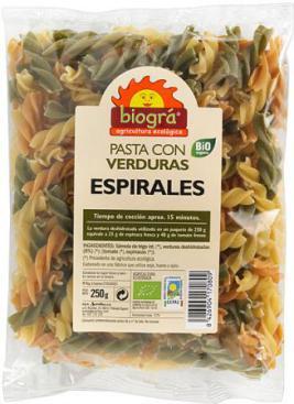 Espirales con verduras 250g.