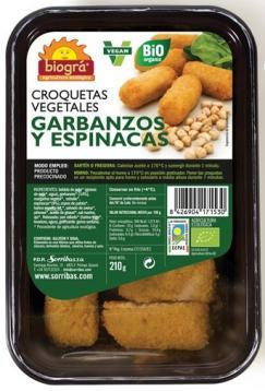 Croquetas vegetales de garbanzos y espinacas Biográ 210g.