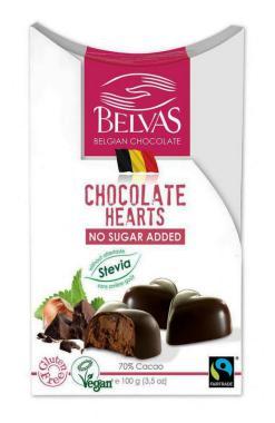 Bombones corazones rellenos chocolate stevia Belvas