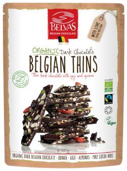 Láminas de chocolate con quinoa, goji y nibs de cacao Belvas 120g.