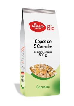 Copos de 5 cereales bio El Granero Integral 500g.