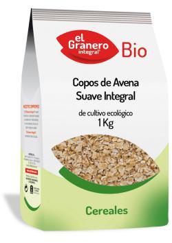 Copos de avena suaves integral bio El Granero Integral 1kg.