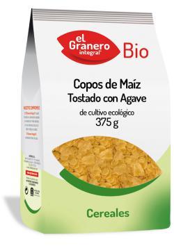 Copos de maíz tostado con agave bio El Granero Integral 375g.
