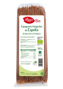 Espaguetis integrales de espelta bio El Granero Integral 500g.