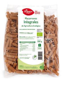 Macarrones integrales El Granero Integral 500g.