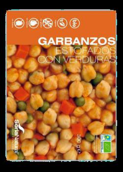 Garbanzos estofados con verduras Soria Natural 300g.