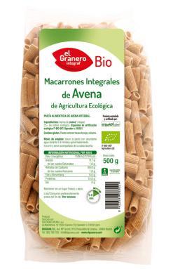 Macarrones de avena integrales El Granero Integral 500g.