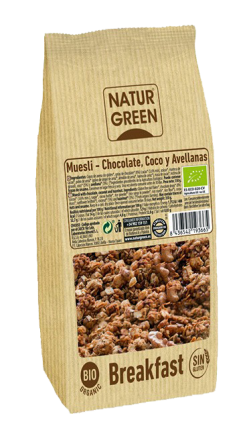 Muesli chocolate coco y avellanas Sin gluten Naturgreen