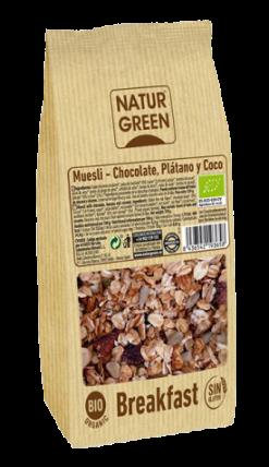Muesli chocolate plátano y coco Sin Gluten Naturgreen